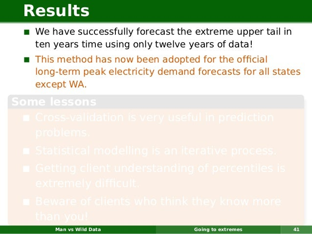 Results    We have successfully forecast the extreme upper tail in    ten years time using only twelve years of data!    T...