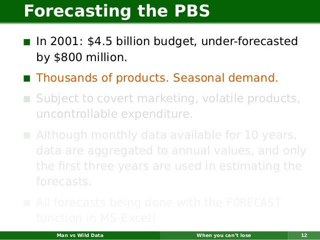 Forecasting the PBS In 2001: $4.5 billion budget, under-forecasted by $800 million. Thousands of products. Seasonal demand...