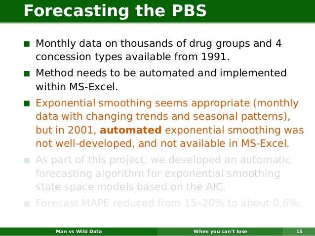 Forecasting the PBS Monthly data on thousands of drug groups and 4 concession types available from 1991. Method needs to b...