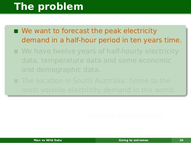 The problem We want to forecast the peak electricity demand in a half-hour period in ten years time. We have twelve years ...