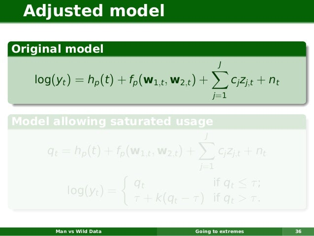 Adjusted modelOriginal model                                                  J   log(yt ) = hp (t ) + fp (w1,t , w2,t ) +...