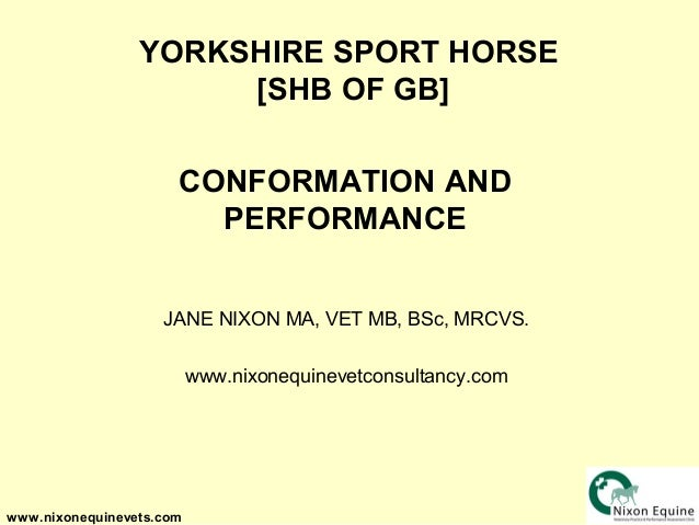 YORKSHIRE SPORT HORSE                      [SHB OF GB]                      CONFORMATION AND                        PERFOR...
