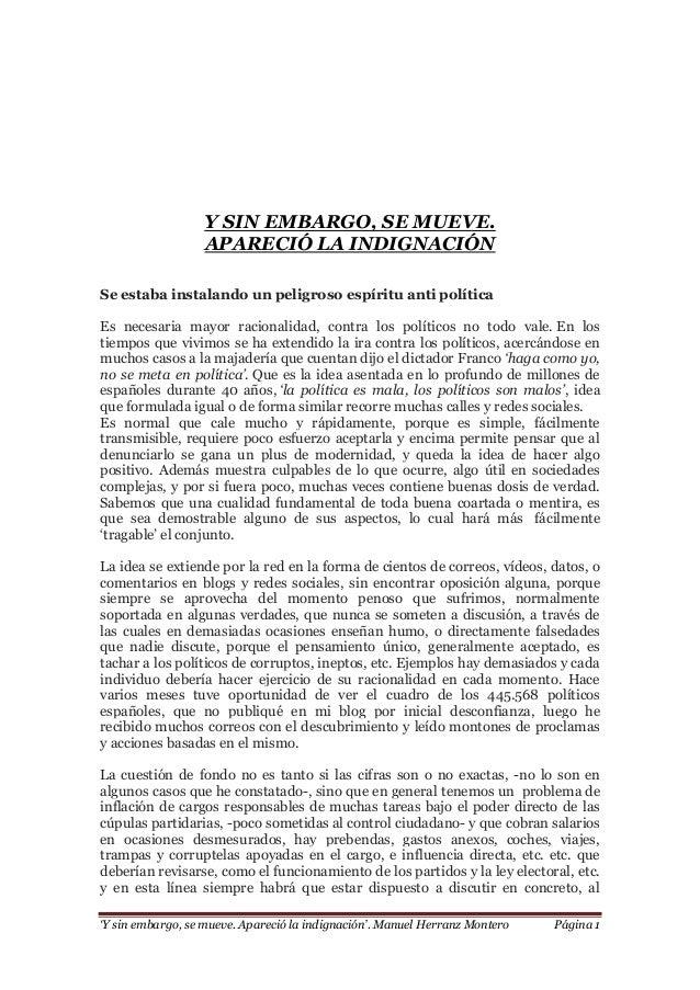 'Y sin embargo, se mueve. Apareció la indignación'. Manuel Herranz Montero Página 1 Y SIN EMBARGO, SE MUEVE. APARECIÓ LA I...