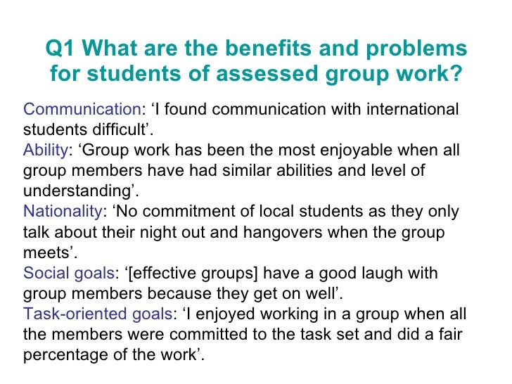 benefits of working in a group essay Creativity thrives when people work together on a team brainstorming ideas as a  group prevents stale viewpoints that often come out of.