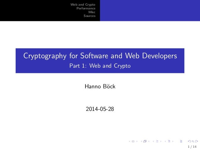 includegraphics[width=1cm]cc0.png Web and Crypto Performance Misc Sources Cryptography for Software and Web Developers Par...