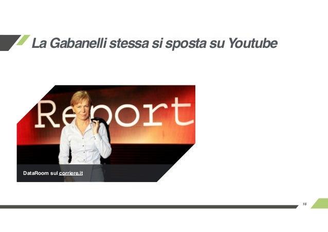 16 La Gabanelli stessa si sposta su Youtube DataRoom sul corriere.it
