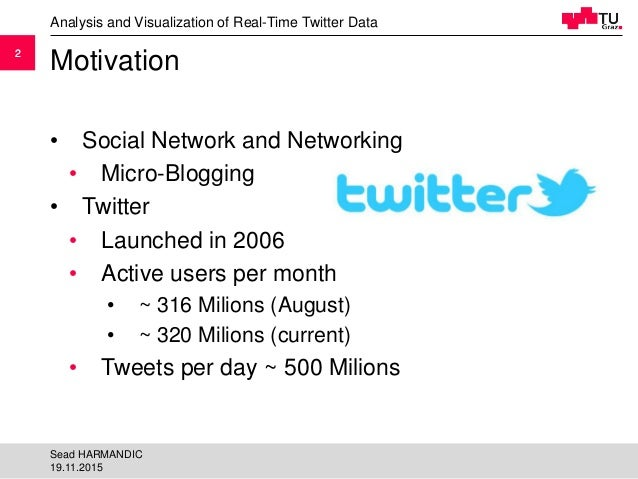 22 Motivation • Social Network and Networking • Micro-Blogging • Twitter • Launched in 2006 • Active users per month • ~ 3...