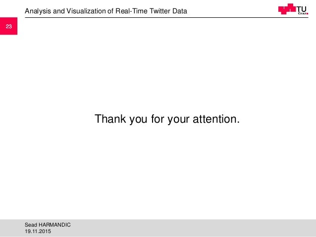 2323 Thank you for your attention. Analysis and Visualization of Real-Time Twitter Data 19.11.2015 Sead HARMANDIC