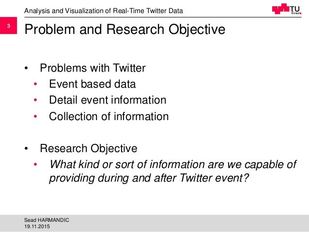 33 Problem and Research Objective • Problems with Twitter • Event based data • Detail event information • Collection of in...