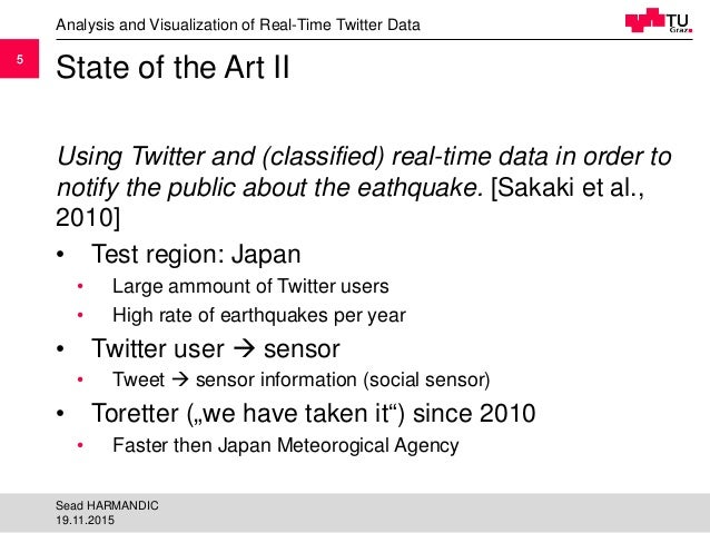 55 State of the Art II Using Twitter and (classified) real-time data in order to notify the public about the eathquake. [S...