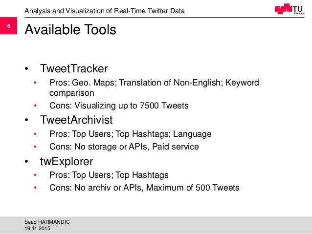 66 Available Tools • TweetTracker • Pros: Geo. Maps; Translation of Non-English; Keyword comparison • Cons: Visualizing up...