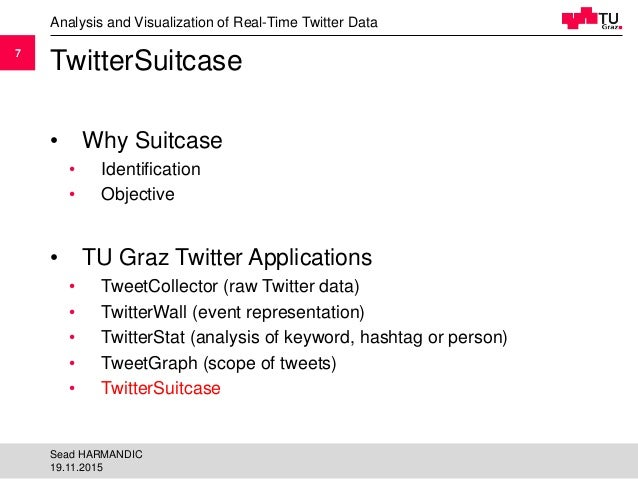 77 TwitterSuitcase • Why Suitcase • Identification • Objective • TU Graz Twitter Applications • TweetCollector (raw Twitte...