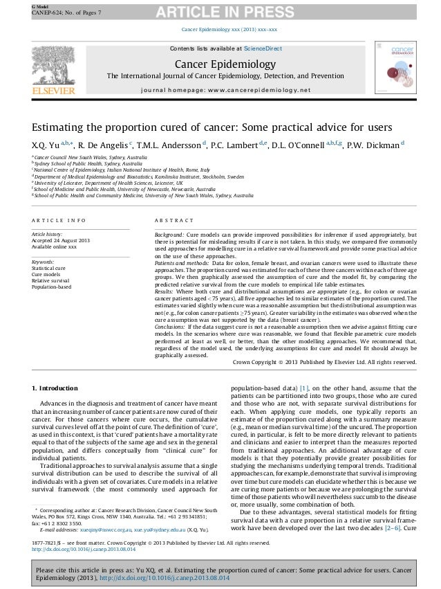 G Model  CANEP-624; No. of Pages 7 Cancer Epidemiology xxx (2013) xxx–xxx  Contents lists available at ScienceDirect  Canc...