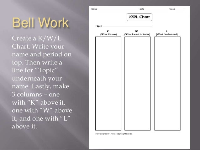 "Bell Work Create a K/W/L Chart. Write your name and period on top. Then write a line for ""Topic"" underneath your name. Las..."