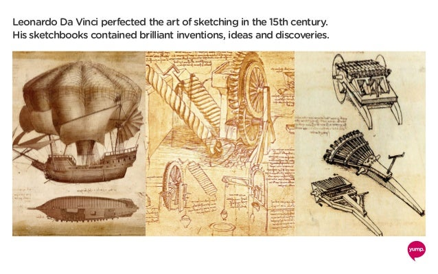 Leonardo Da Vinci perfected the art of sketching in the 15th century. His sketchbooks contained brilliant inventions, idea...