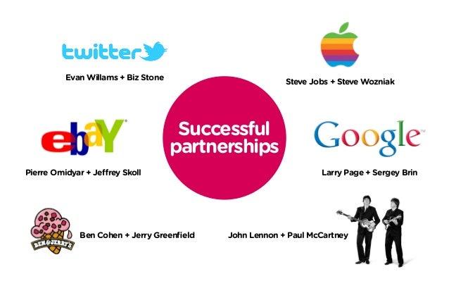 Successful partnerships Larry Page + Sergey BrinPierre Omidyar + Jeffrey Skoll Ben Cohen + Jerry Greenfield Evan Willams +...