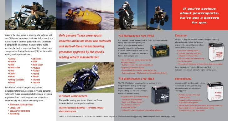 Yuasa Motorcycle Battery Guide