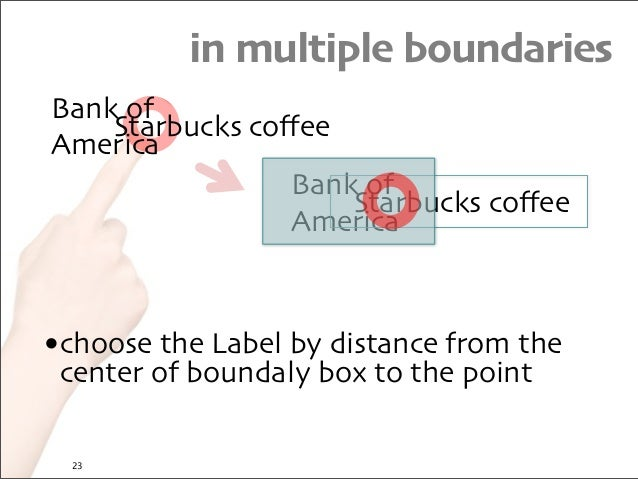 in multiple boundaries Starbucks coffee Bank of America Starbucks coffee Bank of America •choose the Label by distance from ...