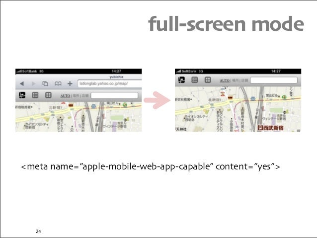 """full-screen mode <meta name=""""apple-mobile-web-app-capable"""" content=""""yes""""> 24"""