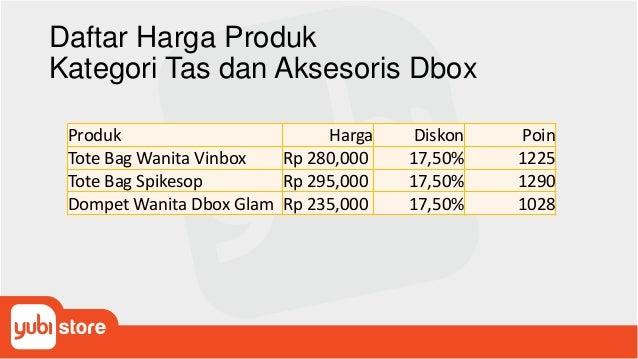 Daftar Harga Produk Kategori Tas dan Aksesoris Dbox Produk Harga Diskon Poin Tote Bag Wanita Vinbox Rp 280,000 17,50% 1225...