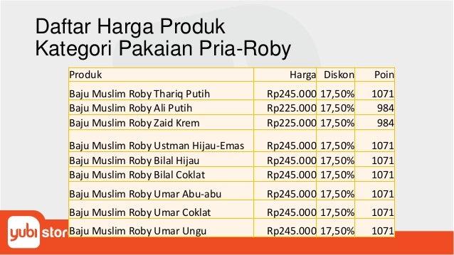 Daftar Harga Produk Kategori Pakaian Pria-Roby Produk Harga Diskon Poin Baju Muslim Roby Thariq Putih Rp245.000 17,50% 107...