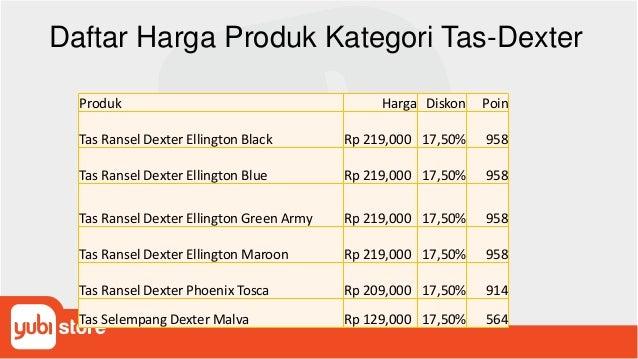 Daftar Harga Produk Kategori Tas-Dexter Produk Harga Diskon Poin Tas Ransel Dexter Ellington Black Rp 219,000 17,50% 958 T...