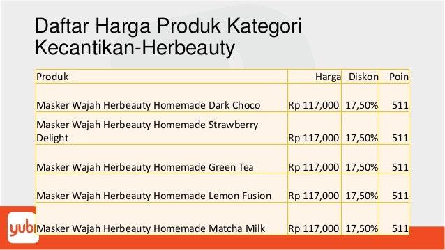 Daftar Harga Produk Kategori Kecantikan-Herbeauty Produk Harga Diskon Poin Masker Wajah Herbeauty Homemade Dark Choco Rp 1...