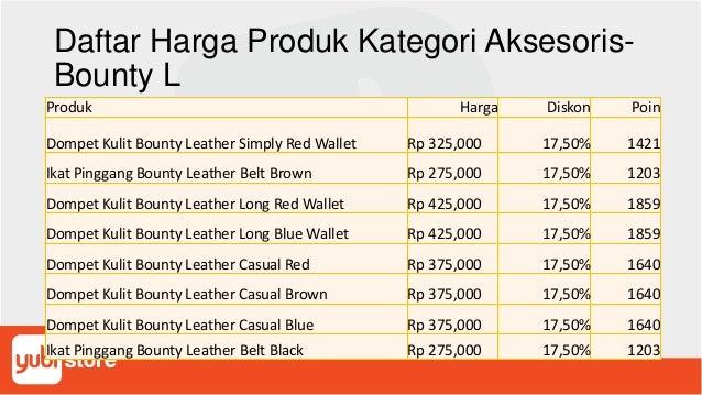 Daftar Harga Produk Kategori Aksesoris- Bounty L Produk Harga Diskon Poin Dompet Kulit Bounty Leather Simply Red Wallet Rp...