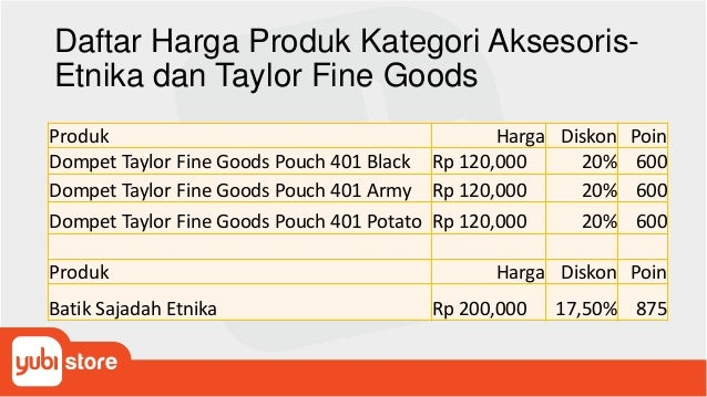 Daftar Harga Produk Kategori Aksesoris- Etnika dan Taylor Fine Goods Produk Harga Diskon Poin Dompet Taylor Fine Goods Pou...