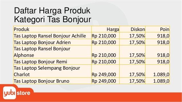 Daftar Harga Produk Kategori Tas Bonjour Produk Harga Diskon Poin Tas Laptop Ransel Bonjour Achille Rp 210,000 17,50% 918,...