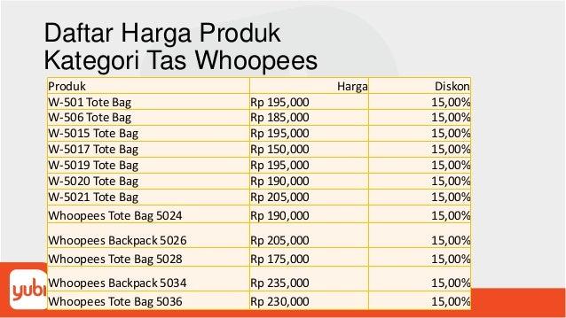 Daftar Harga Produk Kategori Tas Whoopees Produk Harga Diskon W-501 Tote Bag Rp 195,000 15,00% W-506 Tote Bag Rp 185,000 1...