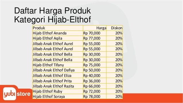 Daftar Harga Produk Kategori Hijab-Elthof Produk Harga Diskon Hijab Elthof Ananda Rp 70,000 20% Hijab Elthof Aqila Rp 77,0...