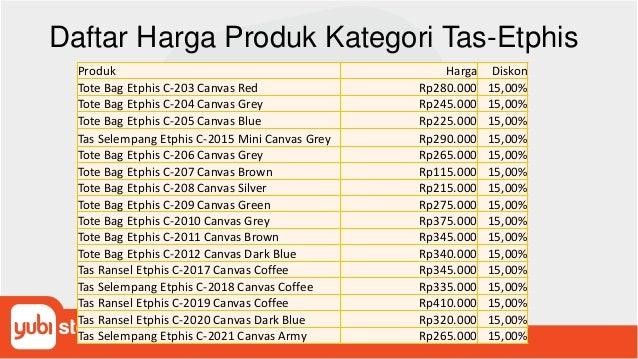 Daftar Harga Produk Kategori Tas-Etphis Produk Harga Diskon Tote Bag Etphis C-203 Canvas Red Rp280.000 15,00% Tote Bag Etp...
