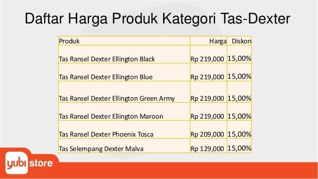 Daftar Harga Produk Kategori Tas-Dexter Produk Harga Diskon Tas Ransel Dexter Ellington Black Rp 219,000 15,00% Tas Ransel...