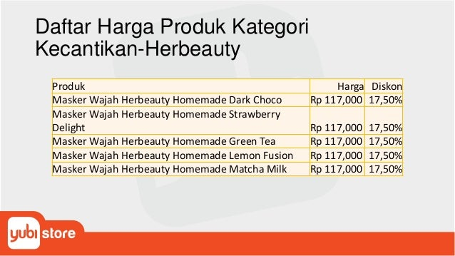 Daftar Harga Produk Kategori Kecantikan-Herbeauty Produk Harga Diskon Masker Wajah Herbeauty Homemade Dark Choco Rp 117,00...