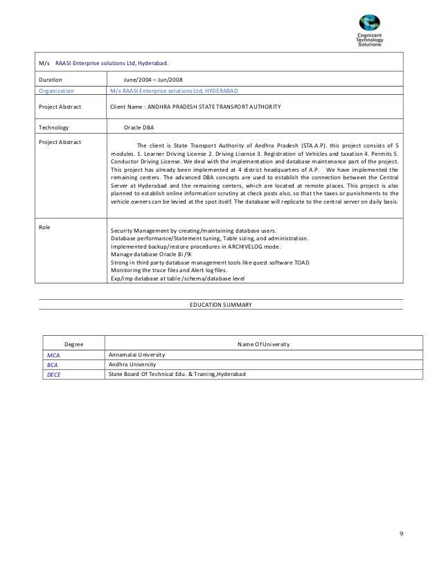 M/s RAASI Enterprise solutions Ltd, Hyderabad. Duration June/2004 – Jun/2008 Organization M/s RAASI Enterprise solutions L...