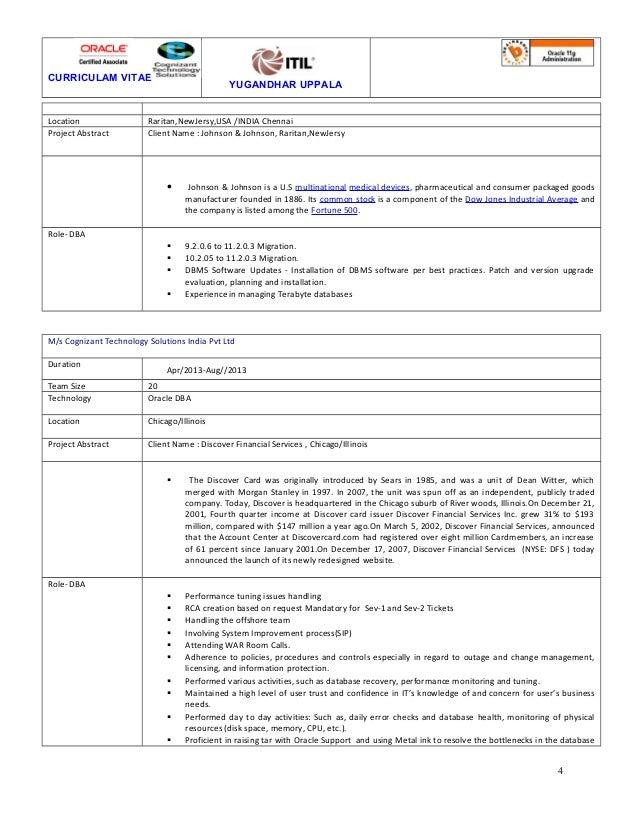 CURRICULAM VITAE YUGANDHAR UPPALA Location Raritan,NewJersy,USA /INDIA Chennai Project Abstract Client Name : Johnson & Jo...