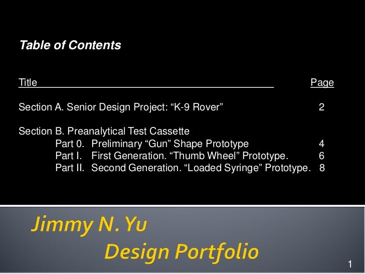 """Table of ContentsTitle                                                        PageSection A. Senior Design Project: """"K-9 R..."""
