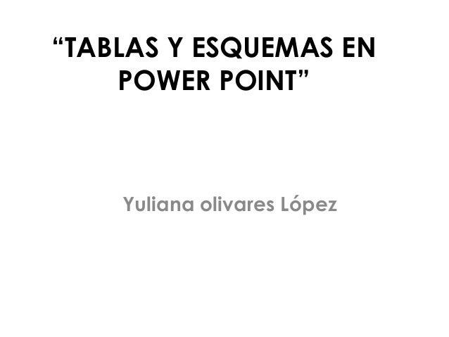 """""""TABLAS Y ESQUEMAS EN    POWER POINT""""    Yuliana olivares López"""