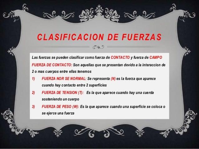 CLASIFICACION DE FUERZASLas fuerzas se pueden clasificar como fuerza de CONTACTO y fuerza de CAMPOFUERZA DE CONTACTO: Son ...