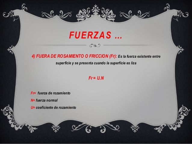 FUERZAS …4) FUERA DE ROSAMIENTO O FRICCION (Fr): Es la fuerza existente entresuperficie y se presenta cuando la superficie...