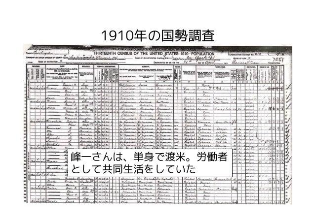 1910年の国勢調査峰一さんは、単身で渡米。労働者として共同生活をしていた