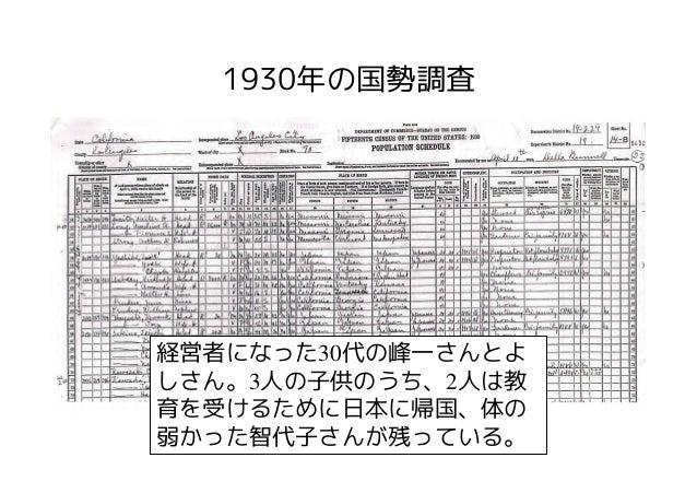 1930年の国勢調査経営者になった30代の峰一さんとよしさん。3人の子供のうち、2人は教育を受けるために日本に帰国、体の弱かった智代子さんが残っている。