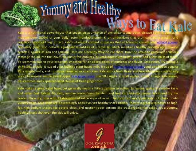 Kale is a nutritional powerhouse that boasts an abundance of antioxidants and other disease-fighting agents. It includes o...