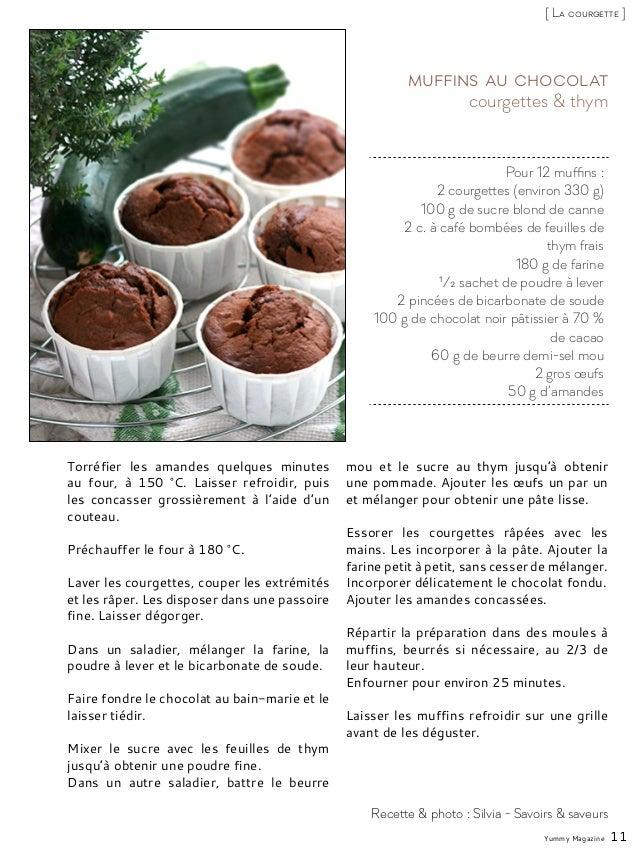 Pour 12 muffins : 2 courgettes (environ 330 g) 100 g de sucre blond de canne 2 c. à café bombées de feuilles de thym frais...