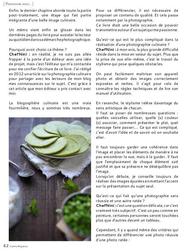 62 Yummy Magazine [ Rencontre avec... ] Enfin, le dernier chapitre aborde toute la partie post-traitement, une étape qui f...