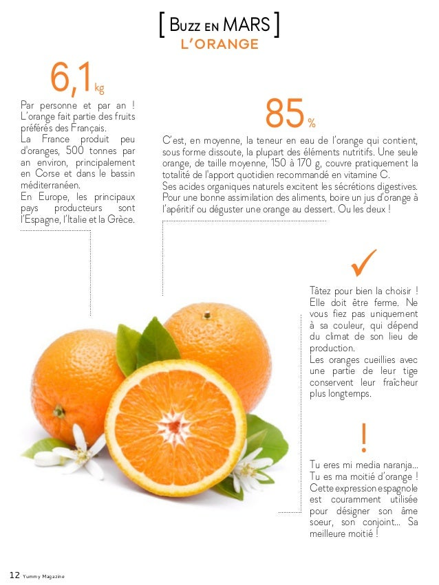 12 Yummy Magazine l'orange [Buzz en MARS ] Par personne et par an ! L'orange fait partie des fruits préférés des Français....