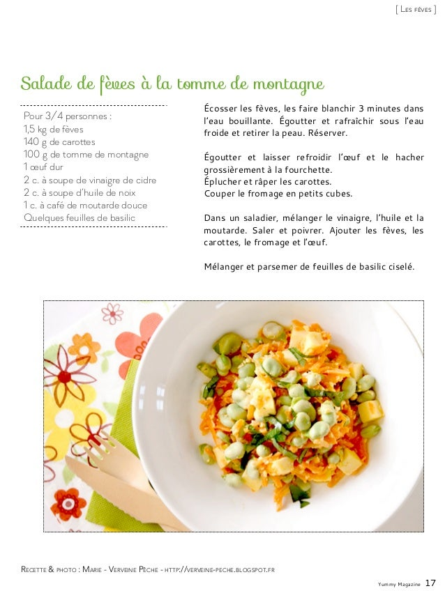 Pour 3/4 personnes : 1,5 kg de fèves 140 g de carottes 100 g de tomme de montagne 1 œuf dur 2 c. à soupe de vinaigre de ci...