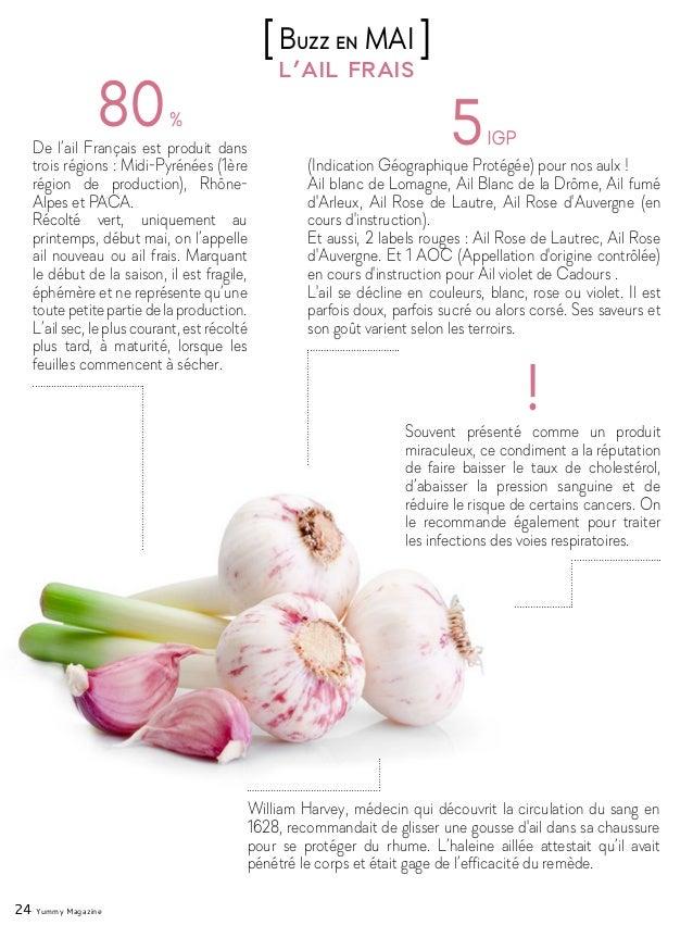 24 Yummy Magazine l'ail frais [Buzz en MAI ] De l'ail Français est produit dans trois régions : Midi-Pyrénées (1ère région...