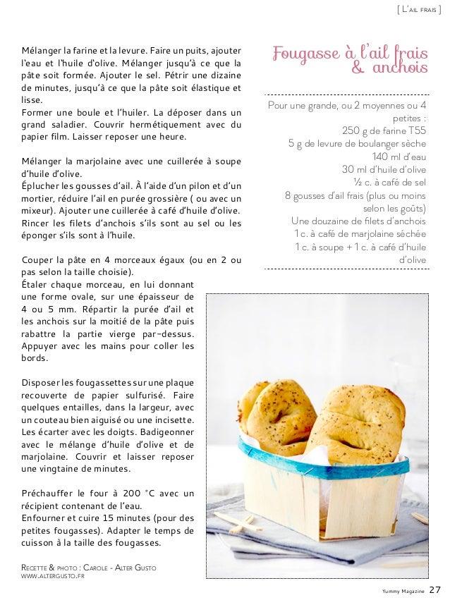 Pour une grande, ou 2 moyennes ou 4 petites : 250 g de farine T55 5 g de levure de boulanger sèche 140 ml d'eau 30 ml d'hu...